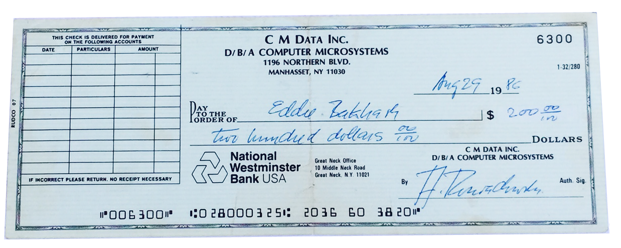 One of Eddie's check's from the computer store Computer Microsystems