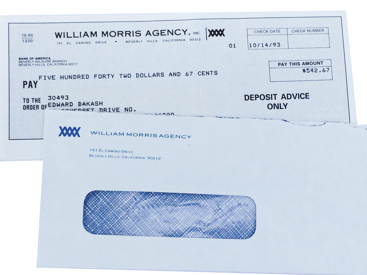 One of Eddie's check's from the world famous William Morris Talent Agency Agent Training Program